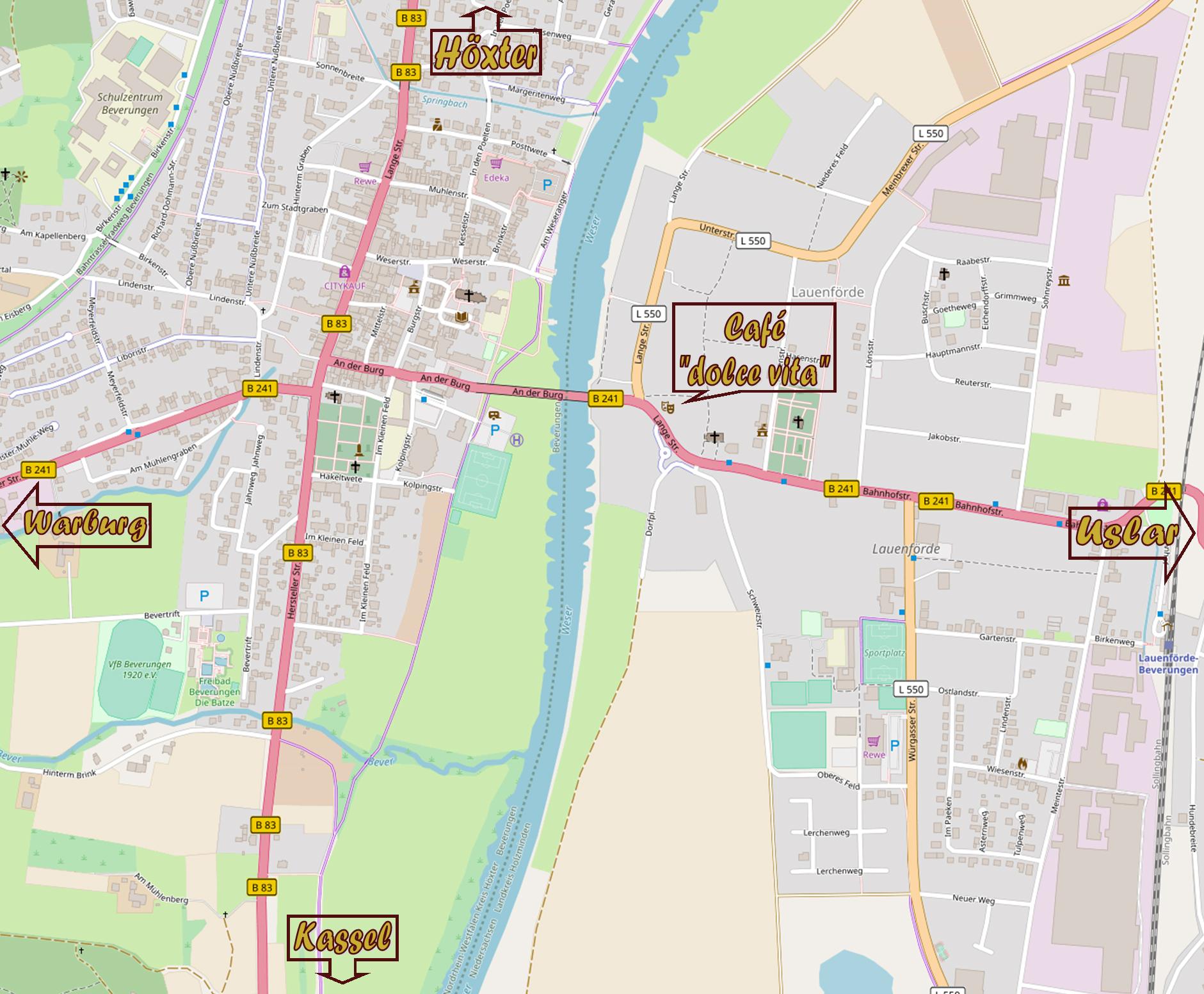 """Landkarte mit Standort vom Café """"dolce vita"""""""